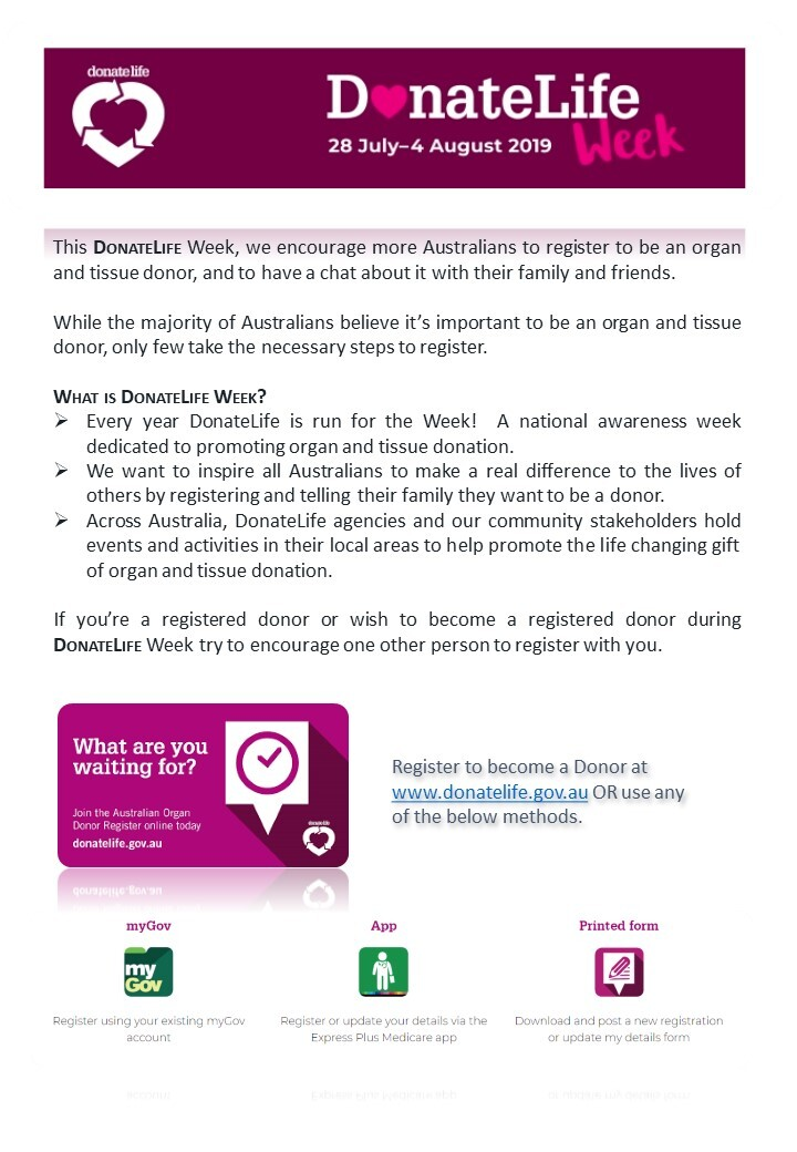 DonateLife Week ~ 28 July to 4 August